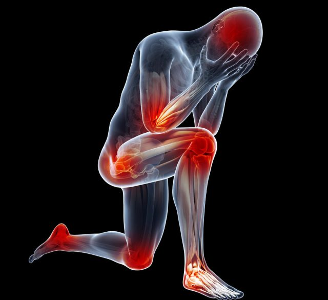 Joint pain radiating pain in joints, head in hands