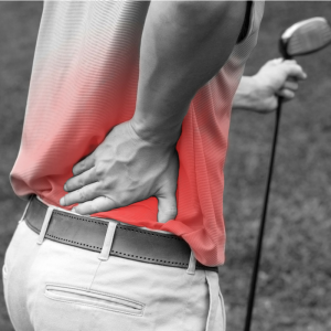 Golfer with sore back while on the course